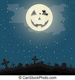 cemetery., halloween natt