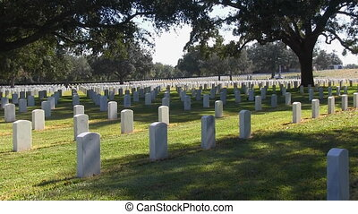 Cemetery Headstones Zoom - Zoom in on military headstones at...