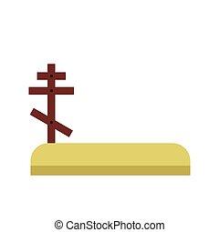 Cemetery icon flat