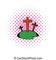 Cemetery icon in comics style