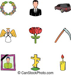 Cemetery icons set, cartoon style