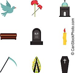 Cemetery icons set, flat style