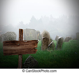 Cemetery in a fog