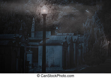 Cemetery in a foggy night