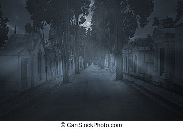 Cemetery in a full moon night
