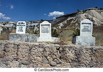Cemetery in Cappadadocia countryside, Turkey