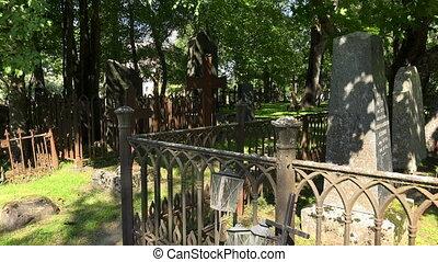 Cemetery in Lappeenranta. Finland. Shot in 4K (ultra-high...
