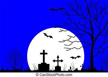 cemetery in night