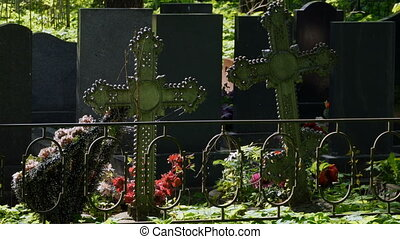 Iron crosses on graves - cemetery Iron crosses on graves...