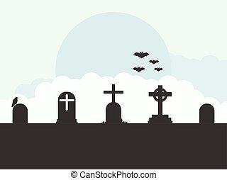 Cemetery landscape, graves, bats, flat style. Vector illustration