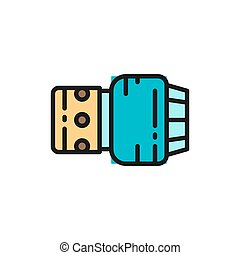 Cemetery oil lamp, memory lantern, candle flat color line icon.