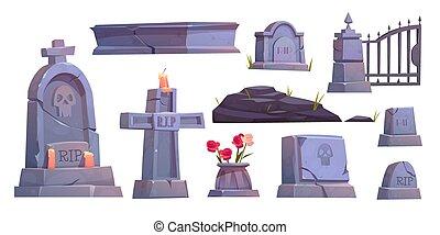 Cemetery set, graveyard tombstone, metal gate - Cemetery...