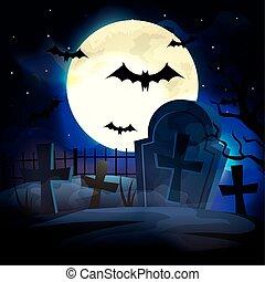 cemetery with bats flying in halloween scene