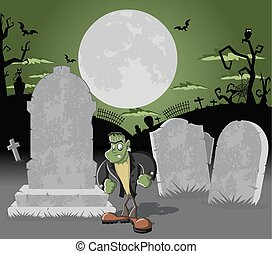 cemetery with frankenstein - Halloween cemetery background ...