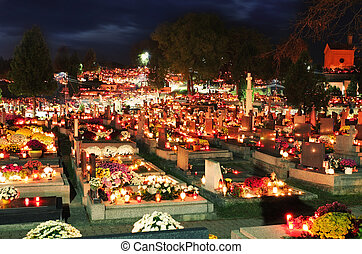 Cemetery with grave - Cemetery at night with many graves and...