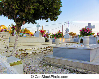 A cemetry with flowers