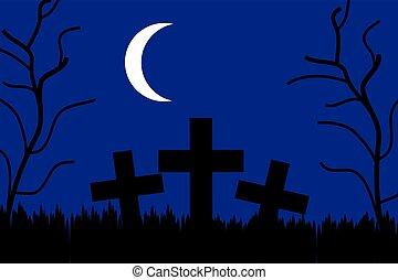 cemitério, à noite