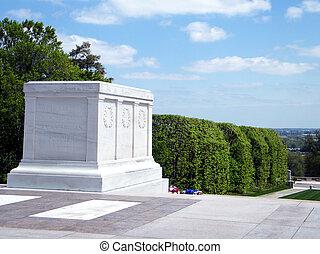 cemitério arlington, a, túmulo soldado desconhecido, 2010