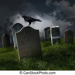 cemitério, com, antigas, gravestones