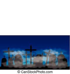 cemitério, com, nevoeiro, à noite