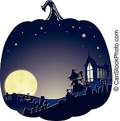 cemitério, dobro, feiticeira halloween, fundo, exposição