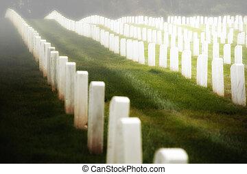 cemitério, militar, gravestones