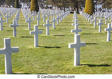 cemitério militar, -, omaha, praia, normandy, france.
