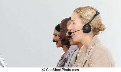 cen, roepen, werkende , handel team