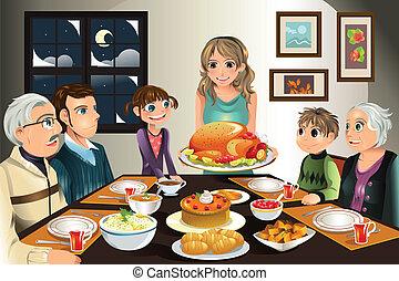 cena, acción de gracias, familia