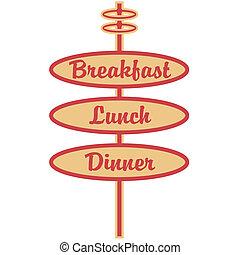 cena, almuerzo, desayuno, retro, señal