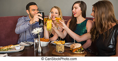 cena, amici, detenere, insieme