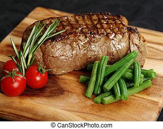 cena, bistecca, delizioso, controfiletto