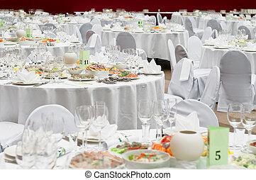 cena, boda, banquete, servicio, formal