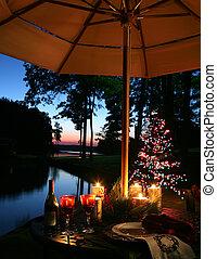 cena, candlelit, romantico, lago