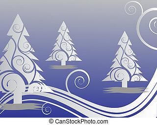 cena, -, cartão natal, inverno