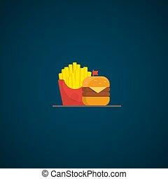 cena, cibo, hamburger, digiuno