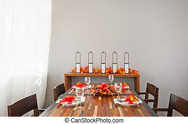 cena, colori, riscaldare, arancia, montaggio tavola, rosso