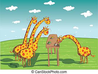 cena, comida, jirafas