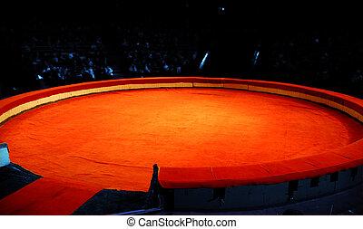 cena, de, circo, de, um, vermelho, material, antes de,...