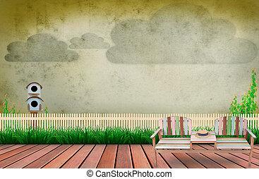 cena, de, madeira, terraço, em, jardim, inteligência