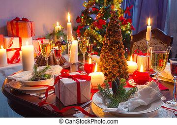 cena de navidad, él, tiempo