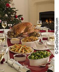 cena de turquía, asado de christmas