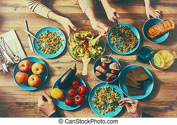 cena, el gozar, familia