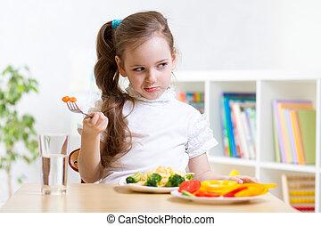 cena, el suyo, se negar, niño, comer