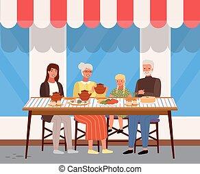 cena, exterior., comida, tienda, ruso, gente, ventana, parientes, alimento, tener, plano de fondo