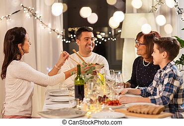 cena famiglia, festa, casa, detenere, felice