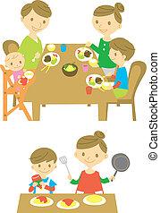cena, familia , cocina