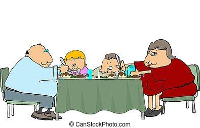 cena, fatseau, familia