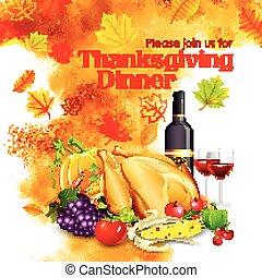 cena, felice, ringraziamento, celebrazione