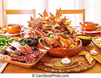 cena, festivo, ringraziamento, giorno